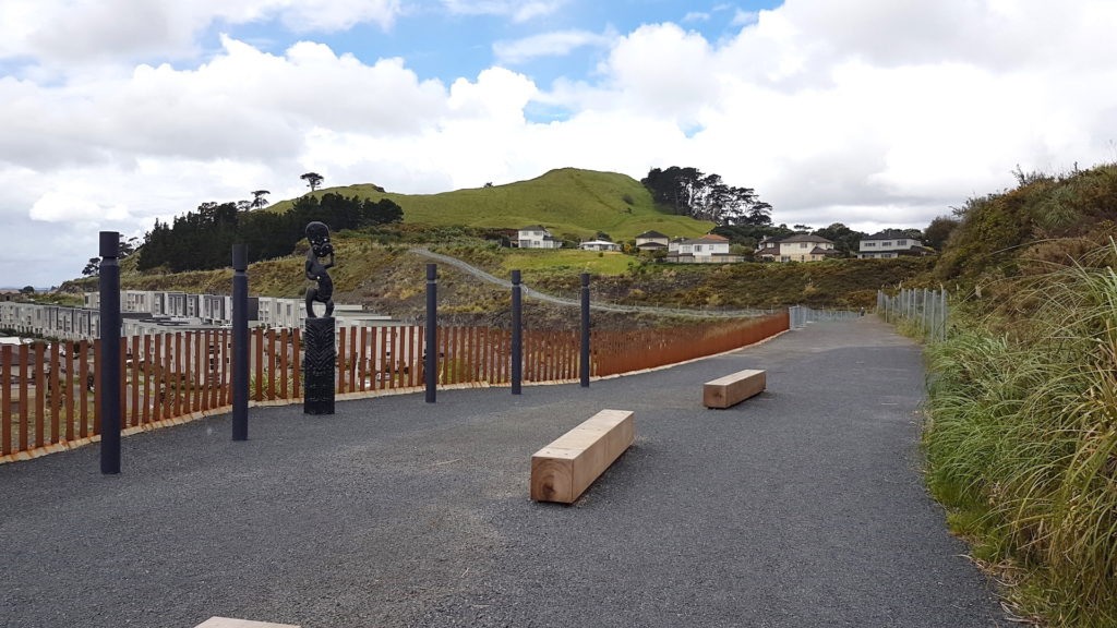 Stonefields Heritage Trail looking towards the maungarei